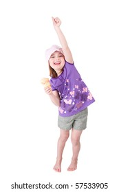 one very happy young girl child celebrating with her arm up and ice cream smiling happily