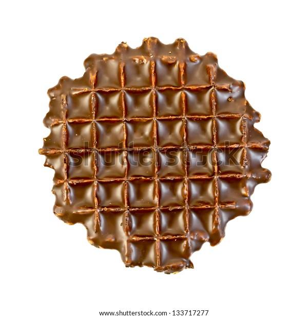 One waffle with chocolate isolated on white background