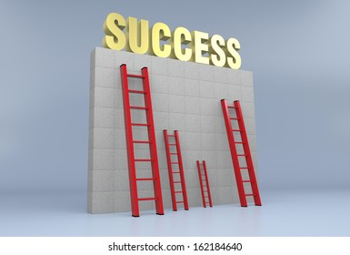 one wall with the word: success, on top of it, and some red stairs, concept of obstacle, career or success (3d render)
