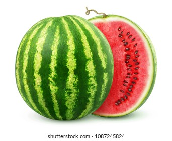 One watermelon cut in halves isolated on white background with clipping path