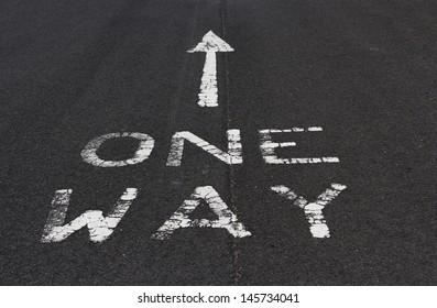 One way marking on tarmac road