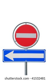 One way road sign, left direction on a white background