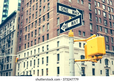 One way signs in New York City, USA