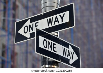 One way street sign n Manhattan, New York City, USA