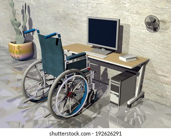 One wheelchair in front of office desk with computer