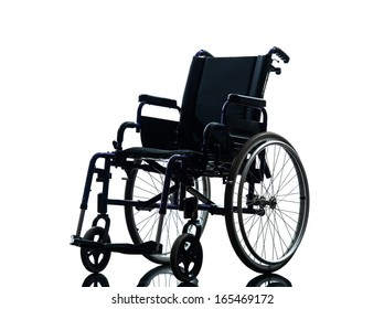 one wheelchair in silhouette studio on white background