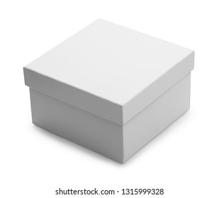 one white closed box isolated on white background