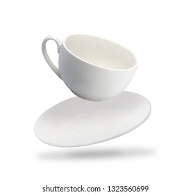 one white mug and saucer fly isolated on white background