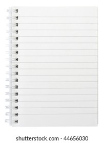 One white notebook isolated on white background