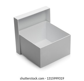 one white open box isolated on white background