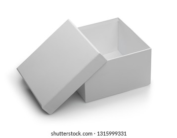 one white open box isolated on white background with shadow