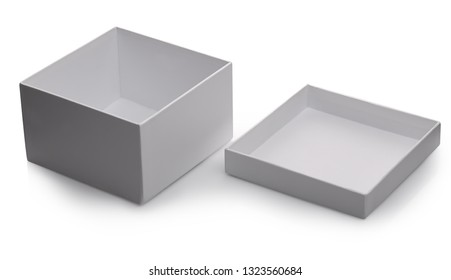 one white open box with lid isolated on white background with shadow