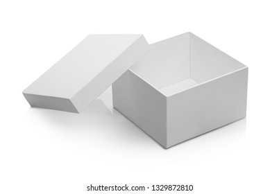 one white open box on white isolated background with shadow and clipping path
