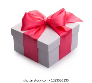 one white open box with a red bow isolated on a white background with a shadow