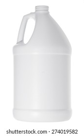 One white plastic gallon jug isolated on white background. Round container used for storing liquid or chemicals.