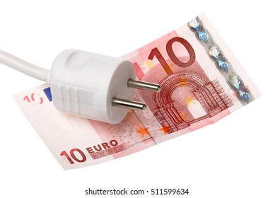 One white power plug on a ten Euros banknote isolated on white.