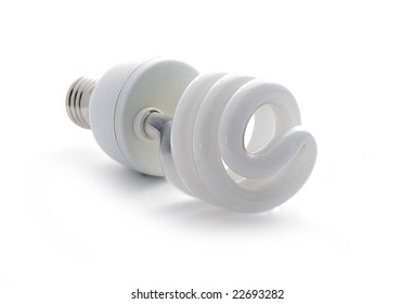 one white power-saving fluorescent spiral lamp isolated