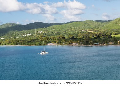 One white sailboat moored off the coast of St Croix