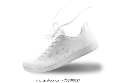 One White sneaker and floating rope  isolated on white background with clipping path