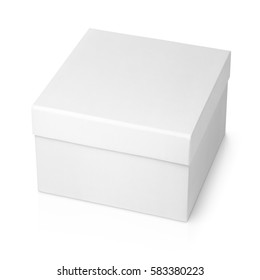 One white square box isolated on white background with clipping path