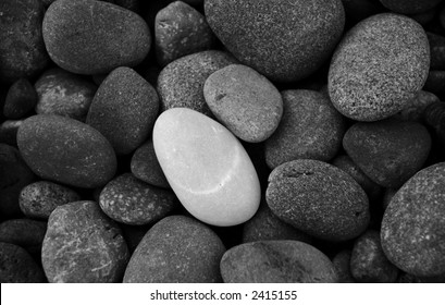 One white stone standing out among gray ones
