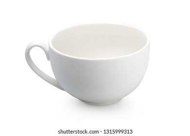 one white tea cup isolated on white background with shadow
