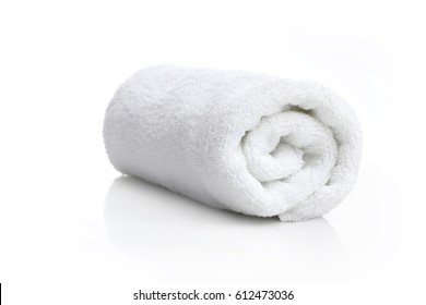 one white towel on white background