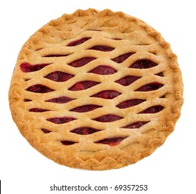 one whole cherry pie over white. top down view.