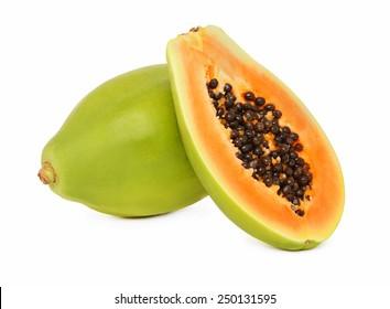 One whole and a half ripe papaya isolated on white background