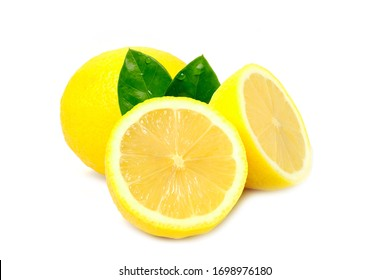 One whole lemon fruit and a half isolated on white background. Use it for a health and nutrition concept.