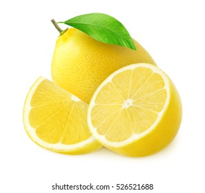 One whole lemon fruit and half with a piece isolated on white