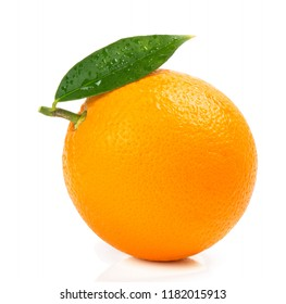 One whole orange fruit with green leaf and drops of water isolated on white background.