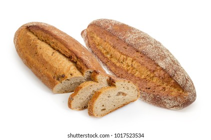 One whole and one partly sliced oval loaf of the wheat and rye sprouted bread with added whole sprouted wheat grains, rye malt and molasses on a white background