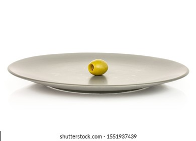One whole pitted green olive on gray ceramic plate isolated on white background