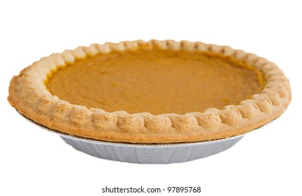 one whole pumpkin pie isolated over white