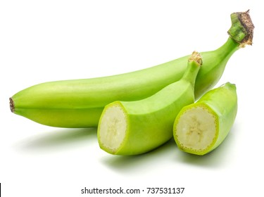 One whole and two halves of plantain isolated on white background green banana