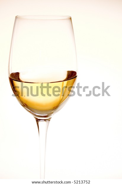 one wine glass fill of white wine on white background