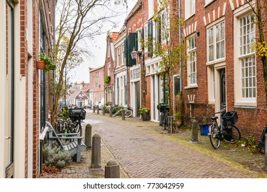 One winter day in Haarlem, Holland. Beautiful street views with bicycles
