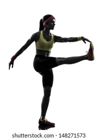 one  woman exercising fitness workout stretching in silhouette  on white background