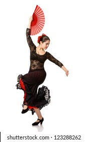 one woman gypsy flamenco dancer. isolated white background