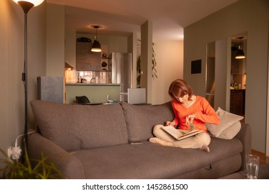 one woman, reading a book in her apartment, at home. interior wide shot.