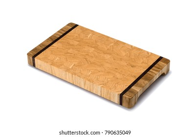 One wooden cutting Board on white background. Iisolate on white