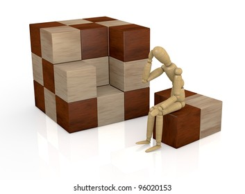 one wooden dummy that thinks how to solve a cube puzzle (3d render)