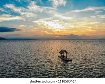 One of the wooden floating huts/ bamboo rafts that are available for guests in Calatagan, Batangas