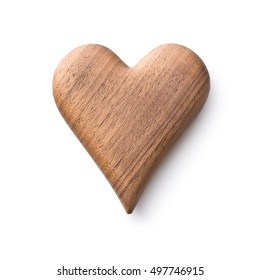 One wooden heart isolated on white background.