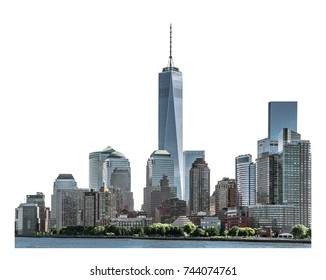 One World Trade Center, landmarks of New York City and high-rise building in Lower Manhattan, isolated white background with clipping path