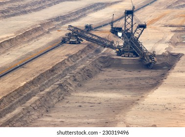 One of the world's largest excavators digging lignite (brown-coal) in one of the world's largest mines