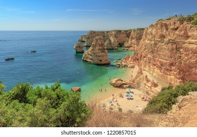 One of the worlds most beautiful beach, the Praia da Marihna at the Portuguese Algarve Coast
