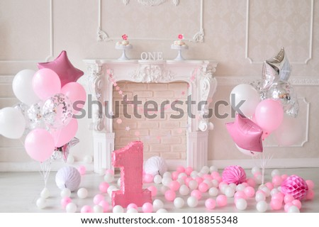 One Year Birthday Decorations A Lot Of Balloons White And Pink Colors For