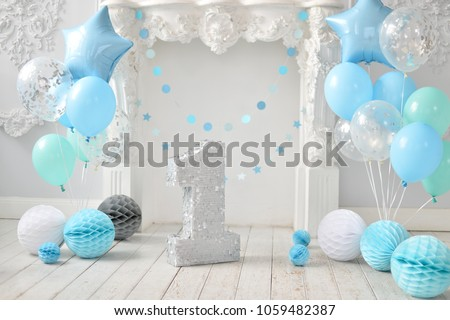 One Year Birthday Decorations A Lot Of Balloons Blue And White Colors